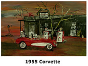 Abstract Windmill. Paintings - 1955 Corvette  by Mark Moore