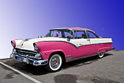 Pink Hot Rod Framed Prints - 1955 Ford Crown Victoria Framed Print by Sanely Great