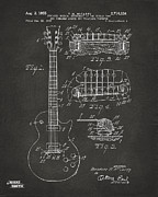 1955 Mccarty Gibson Les Paul Guitar Patent Artwork - Gray Print by Nikki Marie Smith