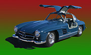 Gullwing Posters - 1955 Mercedes Benz 300 S L  Poster by Jack Pumphrey