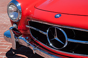 Collector Cars Metal Prints - 1955 Mercedes-Benz 300SL GullWing Grille Emblems Metal Print by Jill Reger