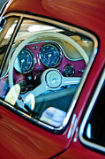 Steering Posters - 1955 Mercedes-Benz 300SL Gullwing Steering Wheel Emblem Poster by Jill Reger