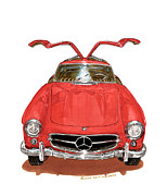 Car Prints Posters - 1955 Mercedes Gull Wing SL300 Poster by Jack Pumphrey