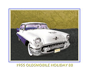 Vintage Car Drawings Posters - 1955 Olds Holiday 88 Poster by Jack Pumphrey