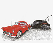 1955 Thunderbird And Kit Teardrop Print by Jack Pumphrey