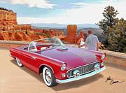 Road Runner Framed Prints - 1955 THUNDERBIRD AT  BRYCE CANYON  classic Ford art sketch rendering art sketch rendering            Framed Print by John Samsen