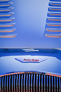 Collector Cars Posters - 1956 Austin-Healey 100M BN2 Factory Le Mans Competition Roadster Hood Emblem Poster by Jill Reger