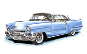 Classic Car Art Drawings - 1956 Cadillac Coupe De Ville by Jack Pumphrey