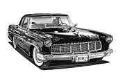 Pen And Ink Art Drawings Framed Prints - 1956 Continental MK II Framed Print by Jack Pumphrey