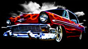 Red Chev Posters - 1956 Flamin Chevrolet Poster by Phil