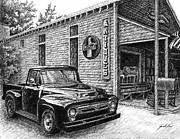 Pen And Ink Drawing Of Classic Truck Framed Prints - 1956 Ford F-100 Truck Framed Print by Janet King