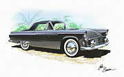 Interior Designer Mixed Media Metal Prints - 1956 FORD THUNDERBIRD  black  classic vintage sports car art sketch rendering         Metal Print by John Samsen