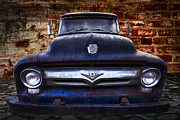 Blue Brick Posters - 1956 Ford V8 Poster by Debra and Dave Vanderlaan