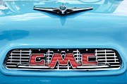 Gmc Photo Posters - 1956 GMC 100 Deluxe Edition Pickup Truck Hood Ornament - Grille Emblem Poster by Jill Reger