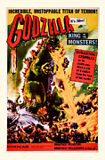 Movie Mixed Media - 1956 Godzilla Vintage Movie Art by Presented By American Classic Art