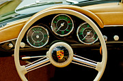 Classic Porsche 356 Photos - 1956 Porsche 356 A Speedster Steering Wheel Emblem by Jill Reger