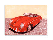 Watercolor Drawings Originals - 1956 Porsche 356 Cabriolet by Jack Pumphrey
