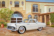 T-bird Painting Framed Prints - 1956 THUNDERBIRD AT PALM BEACH  classic vintage Ford art sketch rendering          Framed Print by John Samsen