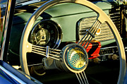 Steering Photo Prints - 1956 Volkswagen VW Bug Steering Wheel 2 Print by Jill Reger