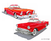 Buick Paintings - 1957 Buick Special Convertible  by Jack Pumphrey