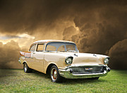 Family Car Framed Prints - 1957 Chevrolet 150 Biscayne Framed Print by Dave Koontz