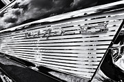 White Chevy Prints - 1957 Chevrolet Bel Air Monochrome Print by Tim Gainey