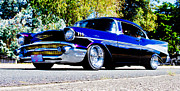 Purple Hot Rod Posters - 1957 Chevrolet Bel Air Poster by Phil