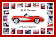 Vintage Sports Cars Framed Prints - 1957 Chevrolet Corvette Art Framed Print by Jill Reger