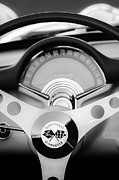 Black And White Photos Prints - 1957 Chevrolet Corvette Convertible Steering Wheel 2 Print by Jill Reger