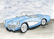 Corvette Drawings - 1957 Chevrolet Corvette by Eva Ason