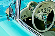 Wheel Posters - 1957 Chevrolet Corvette Steering Wheel Emblem Poster by Jill Reger