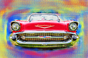 Automotive Pyrography Framed Prints - 1957 Chevy Framed Print by Doug Walker