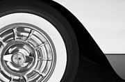 Black And White Photos Prints - 1957 Corvette Wheel Print by Jill Reger
