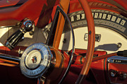 Steering Prints - 1957 Ford Fairlane 500 Skyliner Retractable Hardtop Convertible Steering Wheel Print by Jill Reger