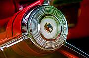 1957 Posters - 1957 Ford Fairlane Convertible Steering Wheel Emblem Poster by Jill Reger