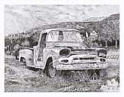 Note Cards Drawings Prints - 1957 Gmc Ran When Parked Print by Jack Pumphrey