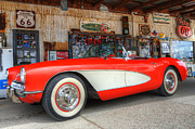 Kicks Prints - 1957 Little Red Corvette Route 66 Print by Bob Christopher
