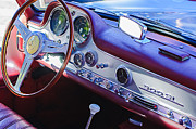 Mercedes Benz 300 Sl Classic Car Prints - 1957 Mercedes-Benz 300 SL Gullwing Steering Wheel Emblem Print by Jill Reger