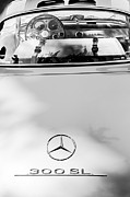 Rear Posters - 1957 Mercedes-Benz Gullwing Rear Emblem Poster by Jill Reger