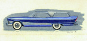 Rendering Drawings Prints - 1957 PLYMOUTH CABANA  station wagon styling design concept sketch Print by John Samsen