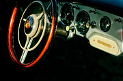 Steering Posters - 1957 Porsche 356 Carrera GT Coupe Dashboard - Steering Wheel Emblems Poster by Jill Reger