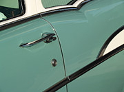 Old Car Door Photos - 1957 Surf Green Chevy Sedan Detail by Anna Lisa Yoder