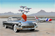 T-bird Painting Framed Prints - 1957 THUNDERBIRD  with F-84 gunmetal vintage Ford classic art sketch rendering           Framed Print by John Samsen