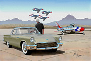 Automotive Digital Art - 1957 THUNDERBIRD  with F-84 Thunderbirds inca vintage Ford classic art sketch rendering            by John Samsen