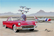 Road Runner Framed Prints - 1957 THUNDERBIRD  with F-84 Thunderbirds  red  classic Ford vintage art sketch rendering         Framed Print by John Samsen