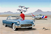 T-bird Painting Framed Prints - 1957 Thunderbird  with F84 Thunderbirds  azure blue  classic rendering  Framed Print by John Samsen