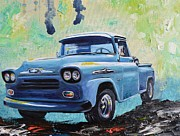 1950s Truck Painting Framed Prints - 1958 Chevy Apache Pickup Truck Framed Print by Sheri Wiseman