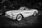 1958 Chevy Framed Prints - 1958 Chevy Corvette BW Framed Print by Rich Franco