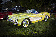 White Walls Framed Prints - 1958 Chevy Corvette  Framed Print by Rich Franco