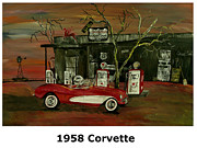 Abstract Windmill. Paintings - 1958 Corvette  by Mark Moore